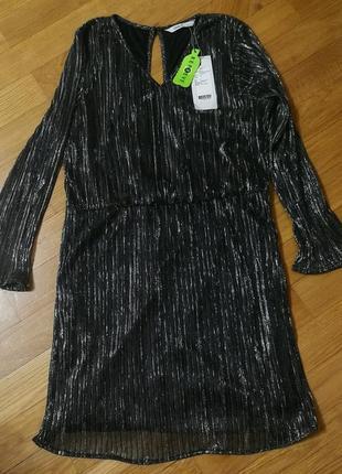 Серебристое платье для новогодней вечеринки, металлик