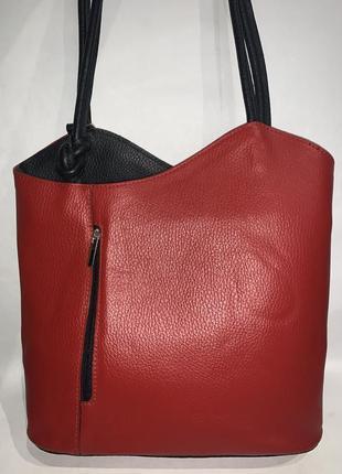 Италия! кожаная фирменная сумка- рюкзак трансформер 2 в 1 borse in pelle.