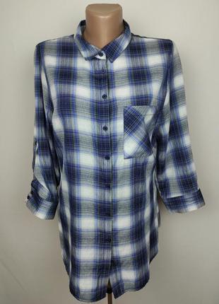 Блуза рубашка красивая легкая в классическую клетку uk 12/40/m