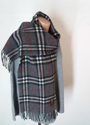 Классический шерстяной шарф в клетку черная серая белая италия3 фото