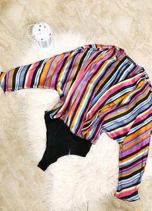 Боди яркое нарядное блуза рубашка в полоску яркая стильное