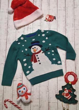 Новогодний 🎅 рождественский свитер со снеговиком с объемным носом 5 - 6 лет рост 116 см