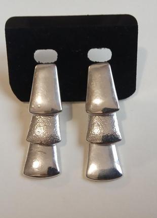 Роскошные серьги сережки с покрытием серебром италия