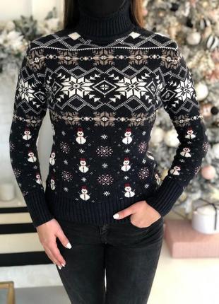 Женский свитер с горловиной черный ☃ новогодний свитер теплый