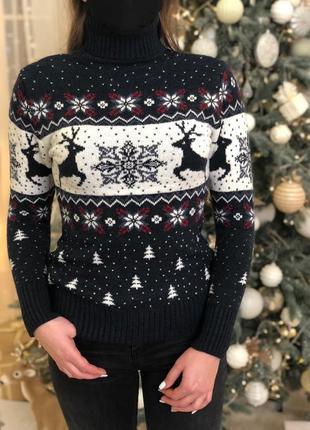 Женский свитер с горловиной темно-синий ☃ новогодний свитер теплый