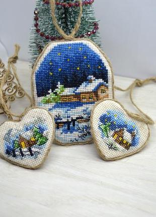 Набір ялинкових прикрас, різдвяна ніч, іграшки на ялинку 3шт hand made