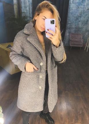 Пальто из искусственного меха, утепленно slimtex(до-10)❄️