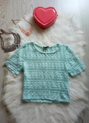 Голубой кроп топ футболка короткая мятная бирюзовая сетка блуза с рукавами нарядная