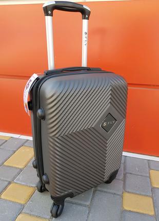 Чёрный дорожный чемодан прочный поликарбонат abs fly ручная кладь