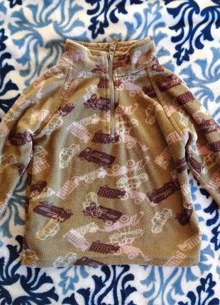 Флисовый свитер с машинками 104 см джемпер свитшот лонгслив реглан