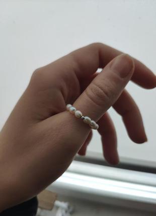 Колечко из натурального речного жемчуга, кольцо из бусин, жемчужное колечко