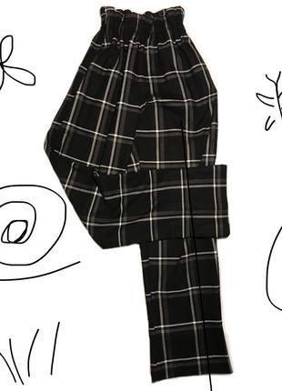 Широкие полосатые штаны на резинке кюлоты