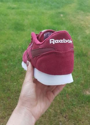 Кроссовки замшевые бордовые (марсала) в стиле reebok classic3 фото