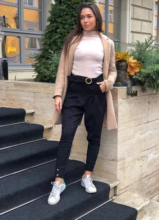 Стильные брюки с поясом трендовые вельветовые