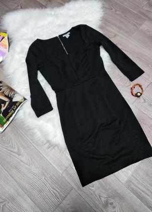 Женское платье с длинным рукавом чёрное обтягивающее футляр