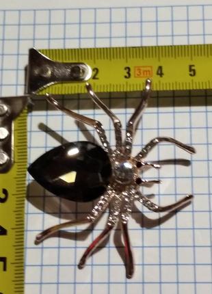 Брошь паук черный, новая 5*5см