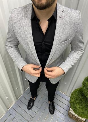 Классический пиджак бежевый с серой крошкой мужской