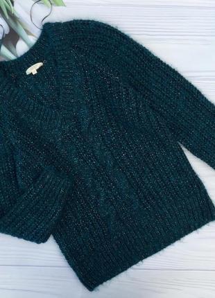 Теплый красивый изумрудный свитер с v образным вырезом falmer