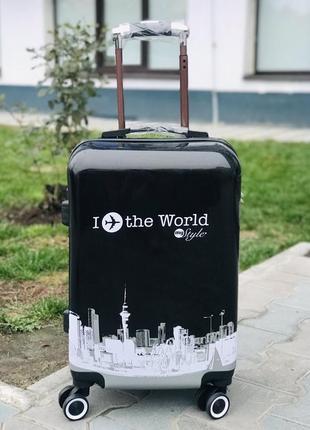 Уценка! пластиковый чемодан для ручной клади с принтом / валіза пластикова з малюнком