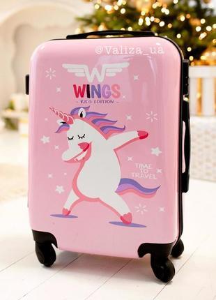 Пластиковый чемодан для ручной клади с единорогом принтом / валіза пластикова з малюнком