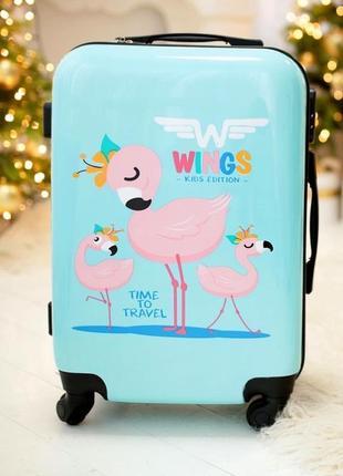 Пластиковый чемодан для ручной клади с фламинго / валіза пластикова з малюнком