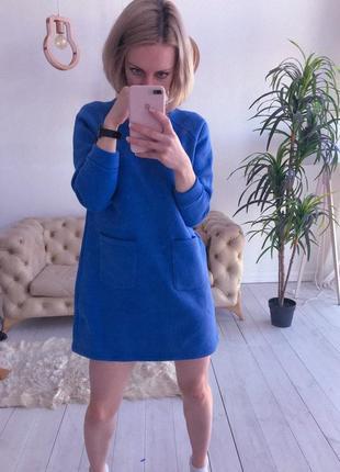 Теплое синее плать на флисе, зимнее платье, байка, утепленное платье