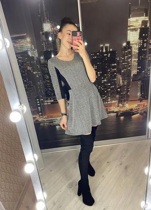Серое с чёрными вставками короткое платье