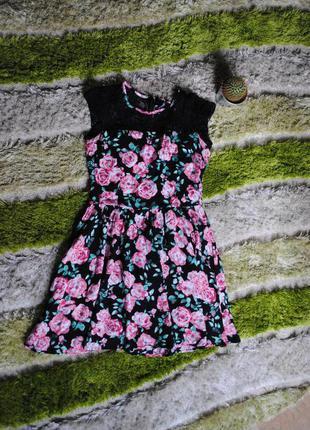 Плаття cropp/chillin чорне з квітами