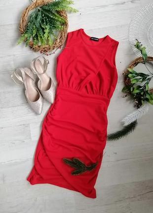 Платье красное  по фигуре мини