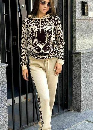 Вязаный костюм леопард женский