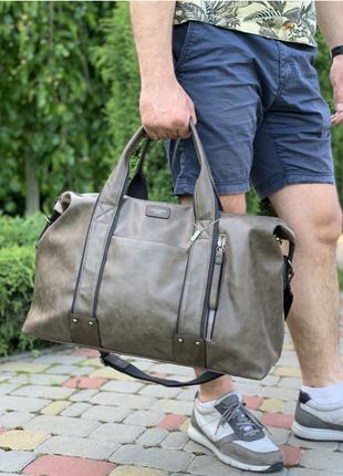 Качественная  дорожная сумка-саквояж  из экокожи david jones 3960 ручная кладь
