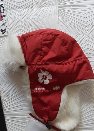 🎄крутая стильная тёплая фирменная шапка ушанка reebok