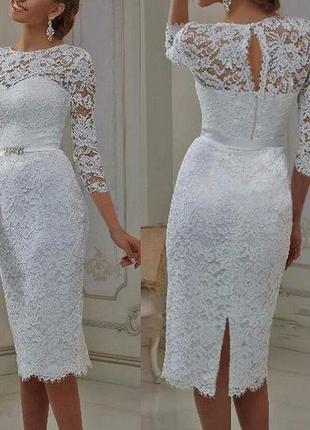 Короткое свадебное платье для росписи кружевное с рукавом прямое