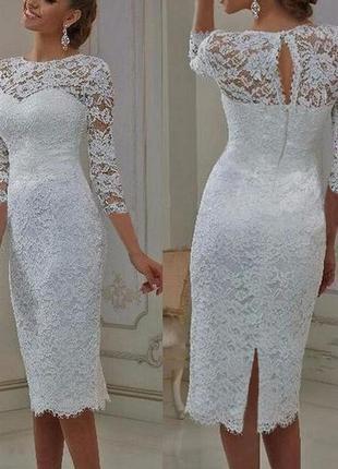 Короткое свадебное платье для росписи кружевное с рукавом прямое2 фото