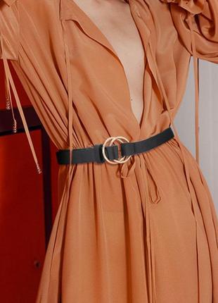 Ремень пояс ремінь черный эко кожаный с пряжкой кольцами в стиле гуччи новый