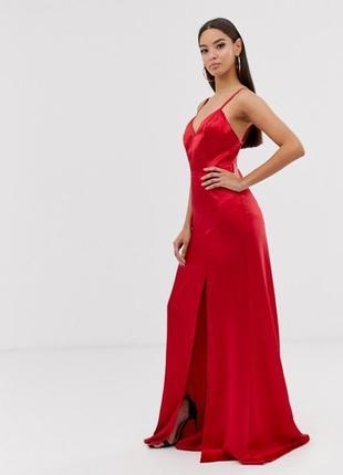 Атласное платье макси с высоким разрезом club l london asos