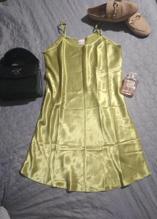 Платье в бельевом стиле бретельки плотная ткань тянется-m