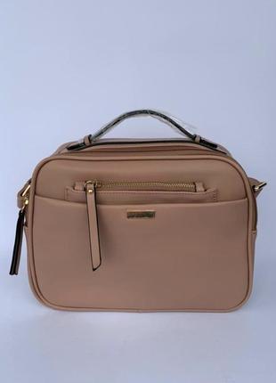 Женская стильная сумочка, сумка на плечо в цвете пудра,городская сумка,жіноча сумка