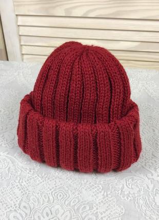 Красная тёплая зимняя вязаная винтажная шапка c&a винтаж
