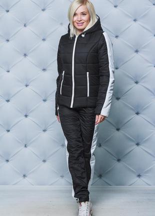Женский зимний спортивный костюм черный 42-54