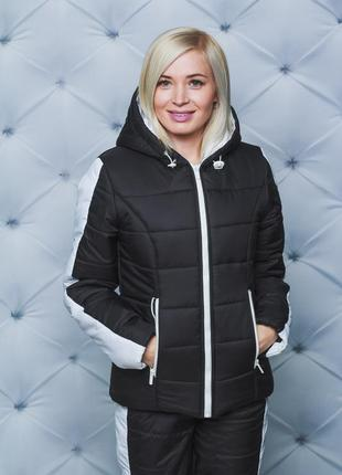 Женский зимний спортивный костюм черный 42-543 фото