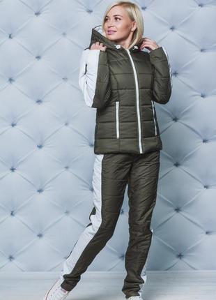 Женский теплый зимний костюм хаки 42-54