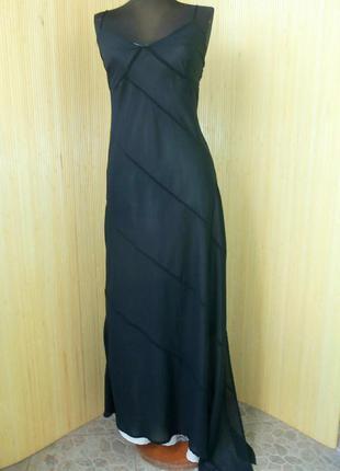Чёрное вечернее длинное  нарядное  патье в пол со шлейфом , ассимтрия b-young  m/l