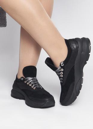 Черные повседневные замшевые кроссовки!