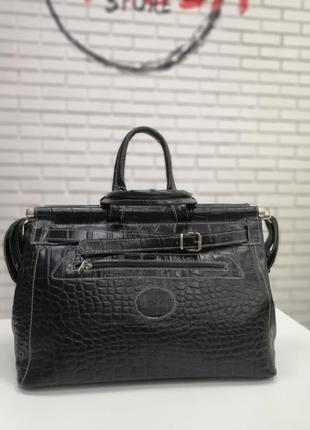 Дорожная кожаная  сумка саквояж черный