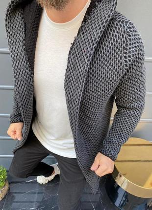 Мантия мужская серого цвета с капюшоном