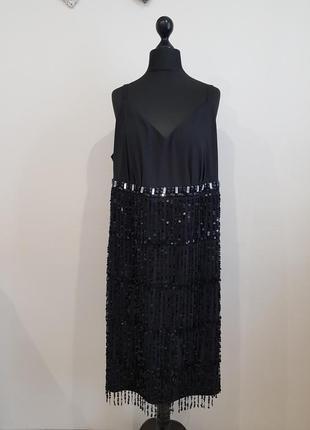 Черное нарядное платье с паедками mim