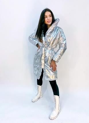 Куртка пальто серебрянный цвет