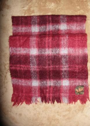 Теплый уютный широкий шарф палантин натуральной шерсти creagaran в клетку