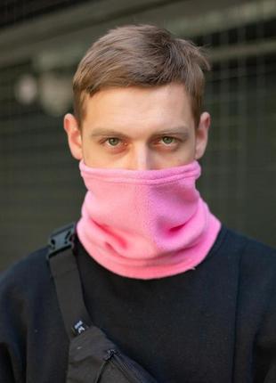 Теплий флісовий баф рожевого кольору з затяжками without